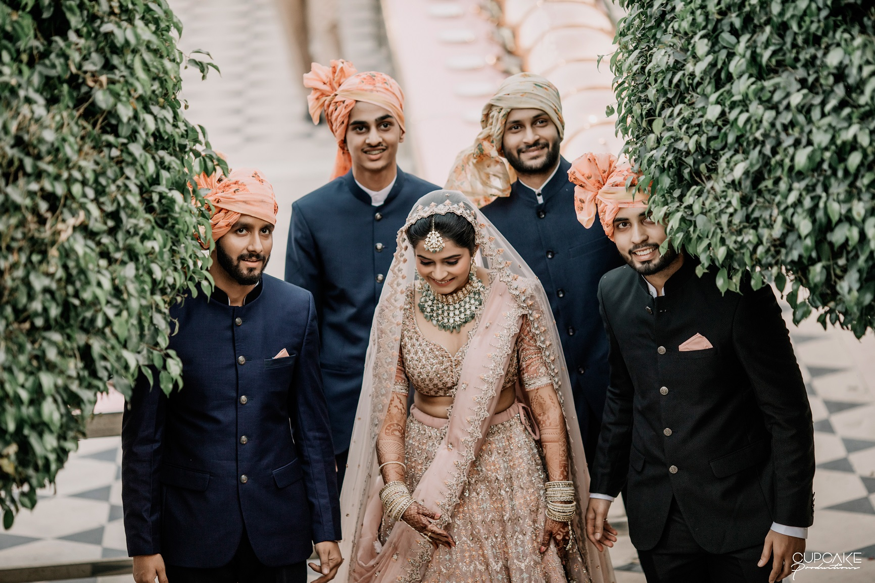 bride with brothers