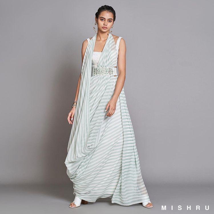 buy designer pre-draped sarees