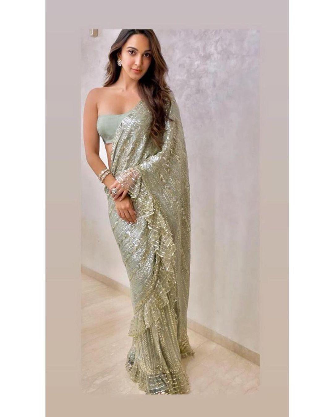 kiara ali advani in sequin saree