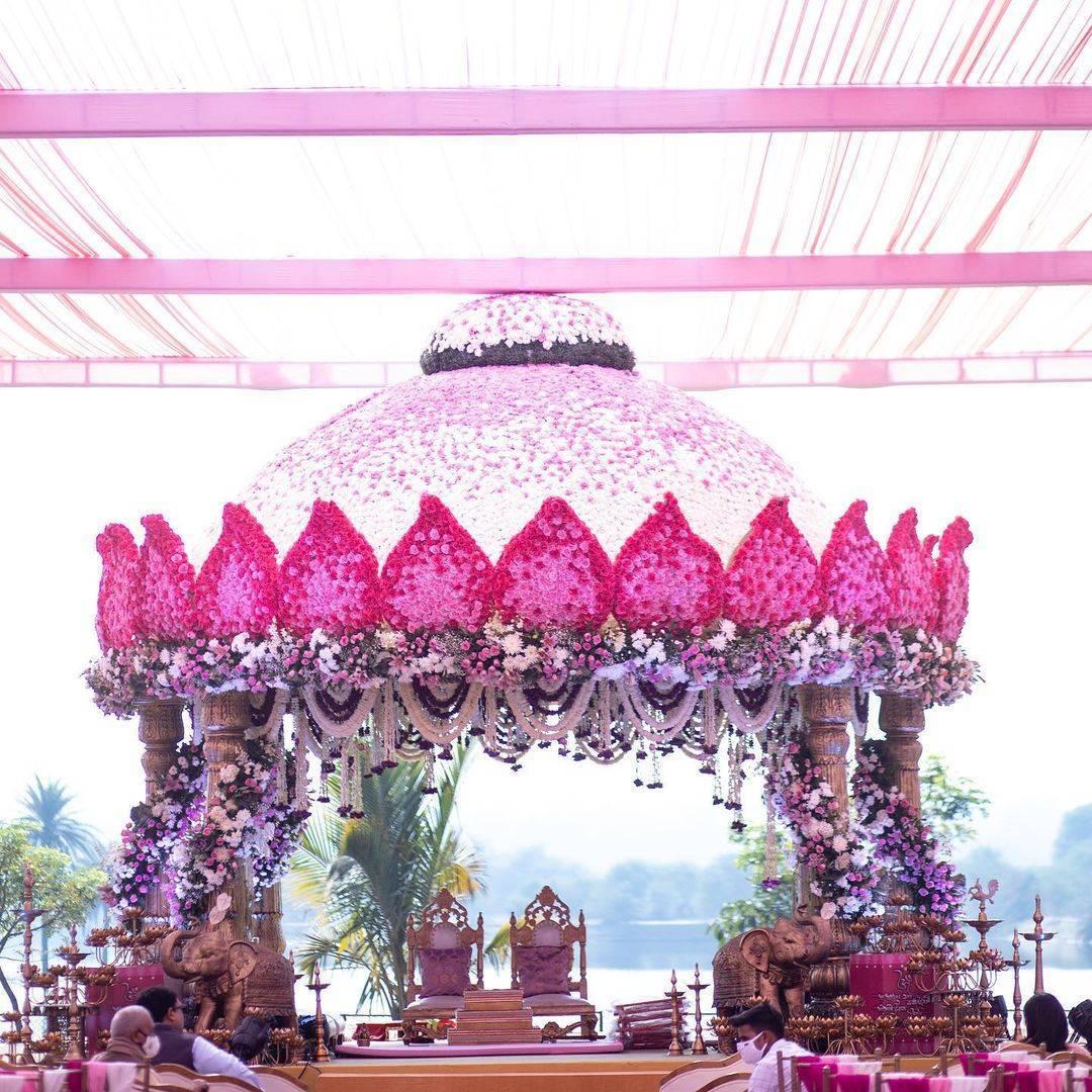 lotus shaped mandap dome