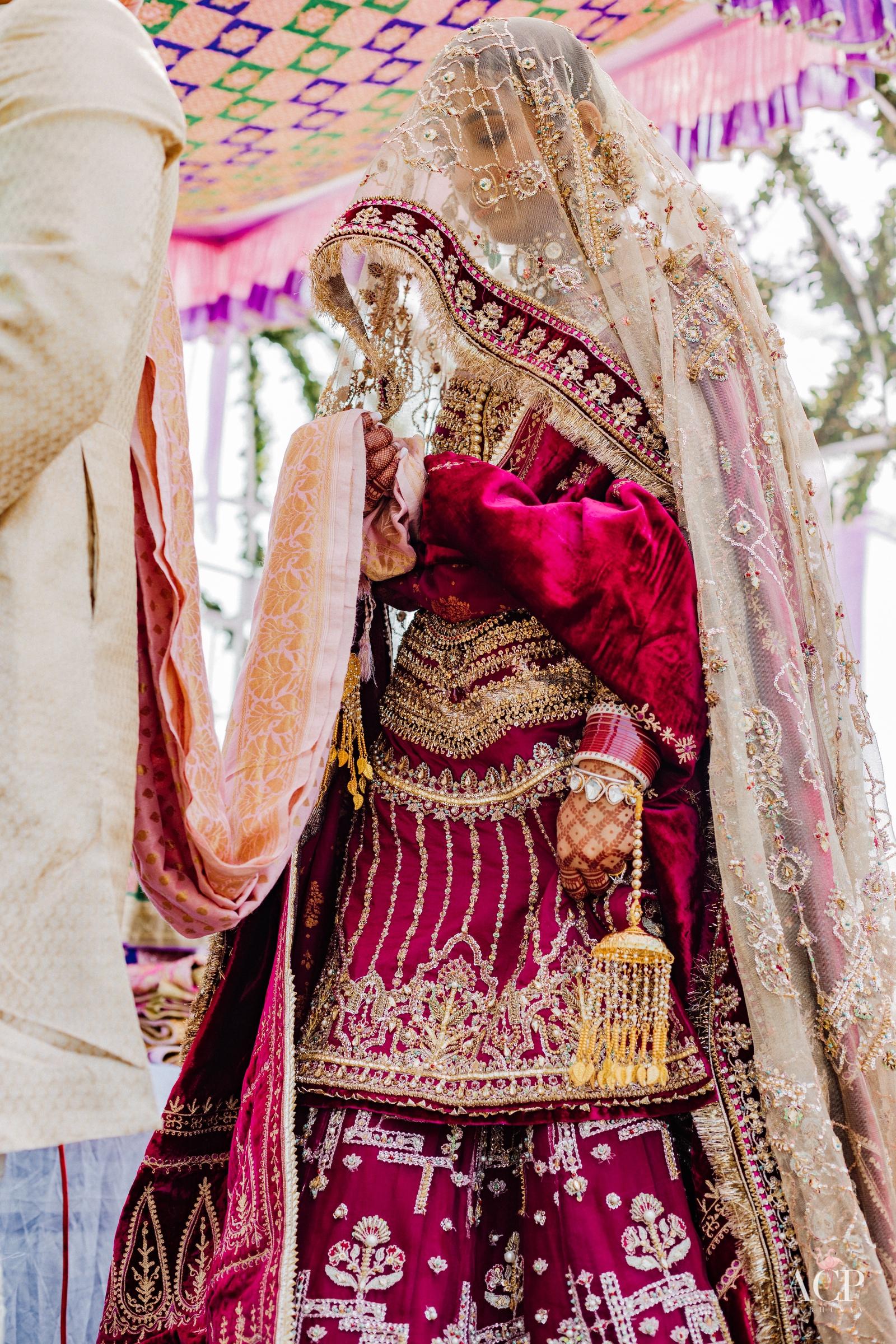 magenta bridal lehenga