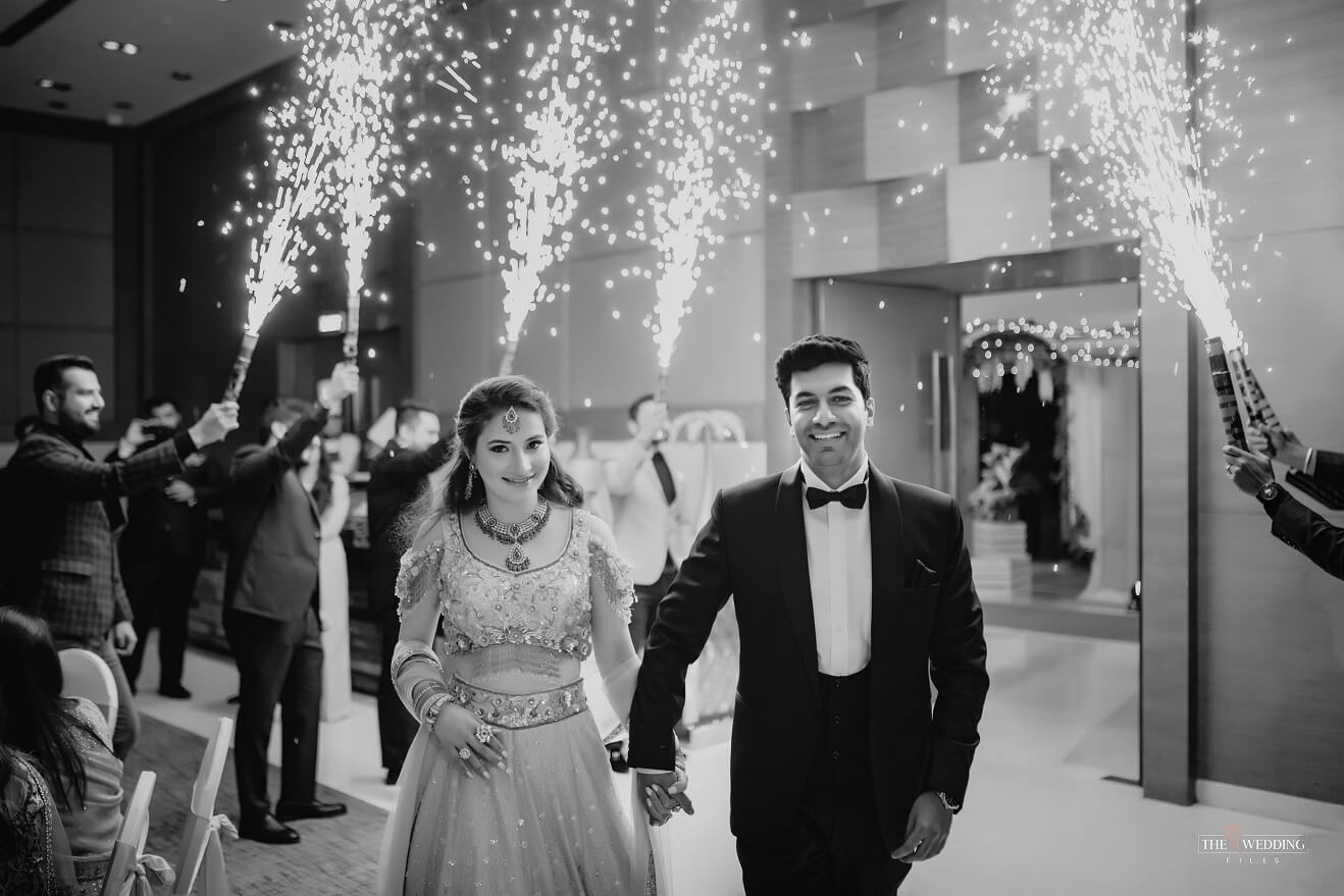 monochrome couple entry shot