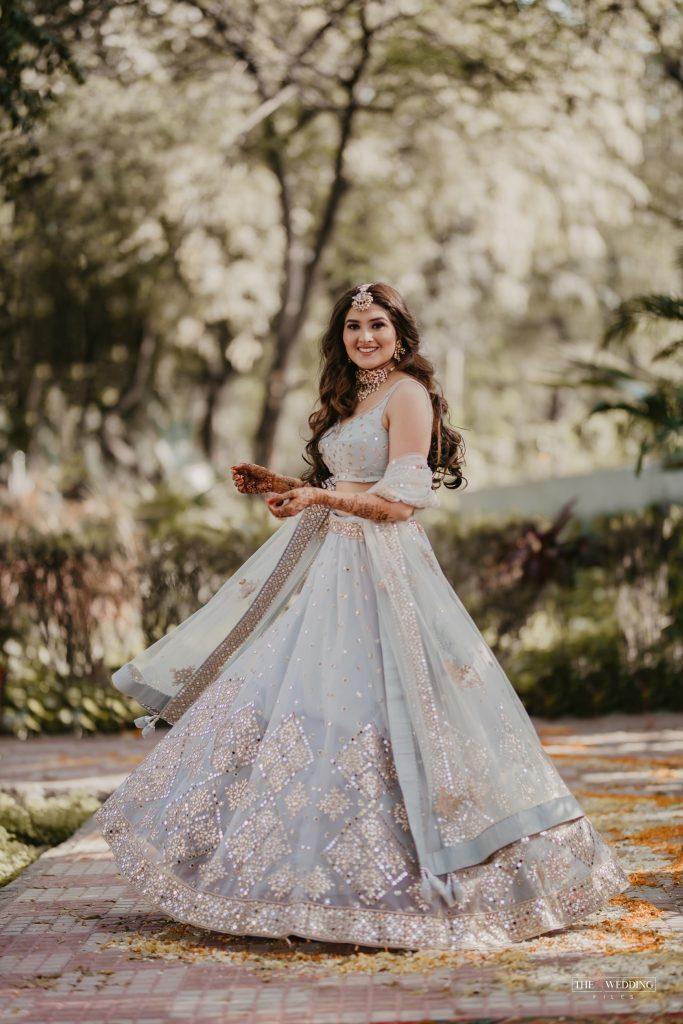 bridal powder blue lehenga