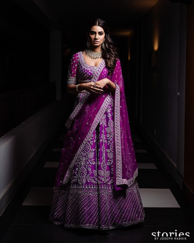 purple bridal lehengas