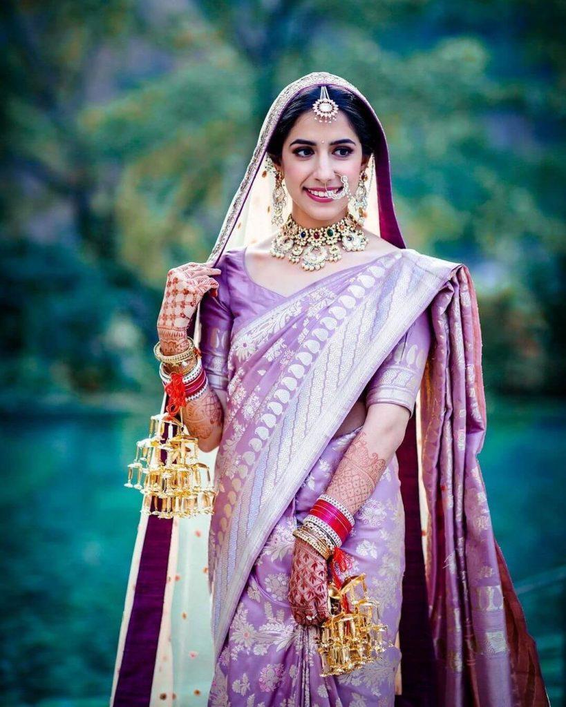 bridal purple saree