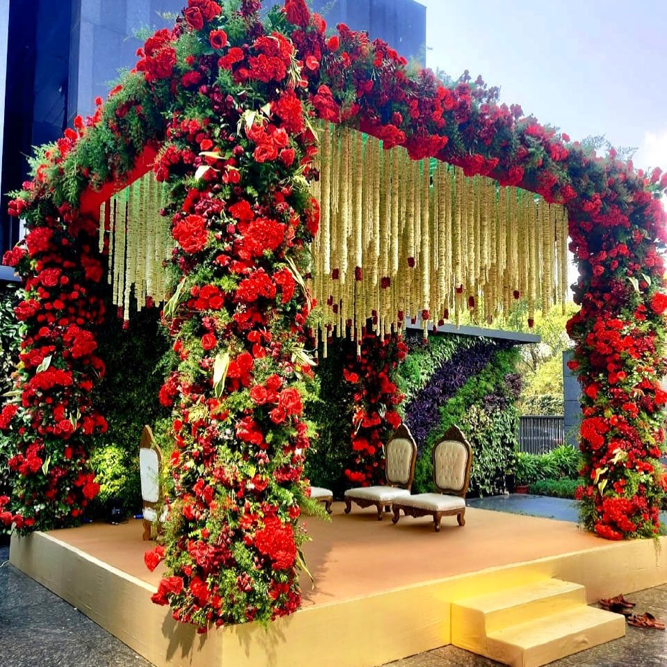 red and white floral decor