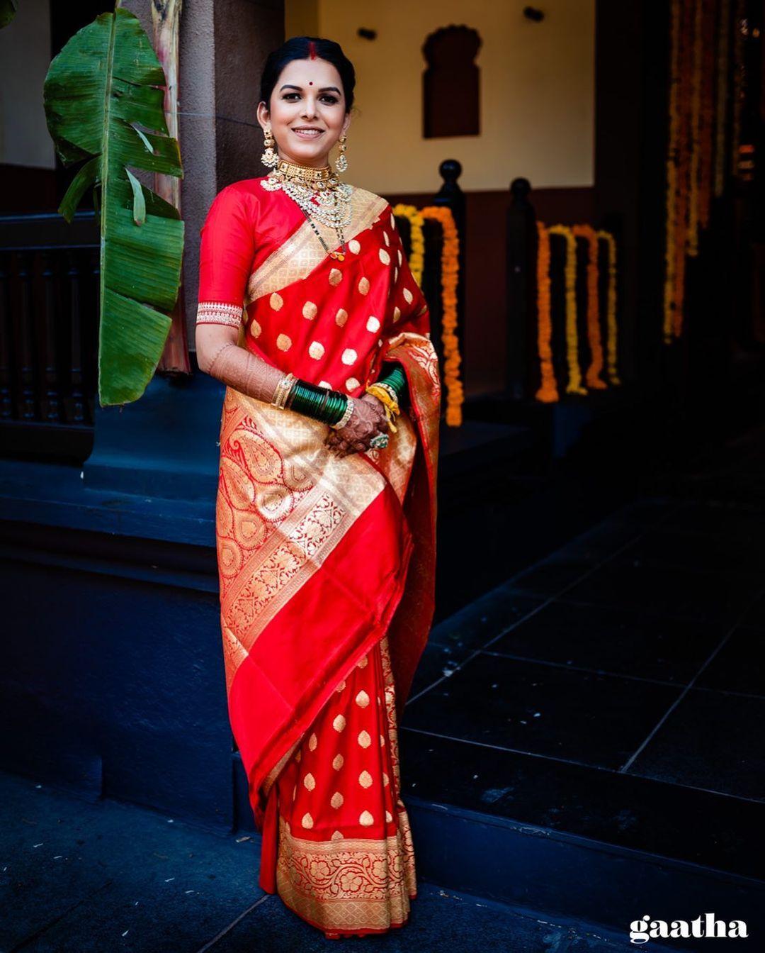 red banarasi bridal saree