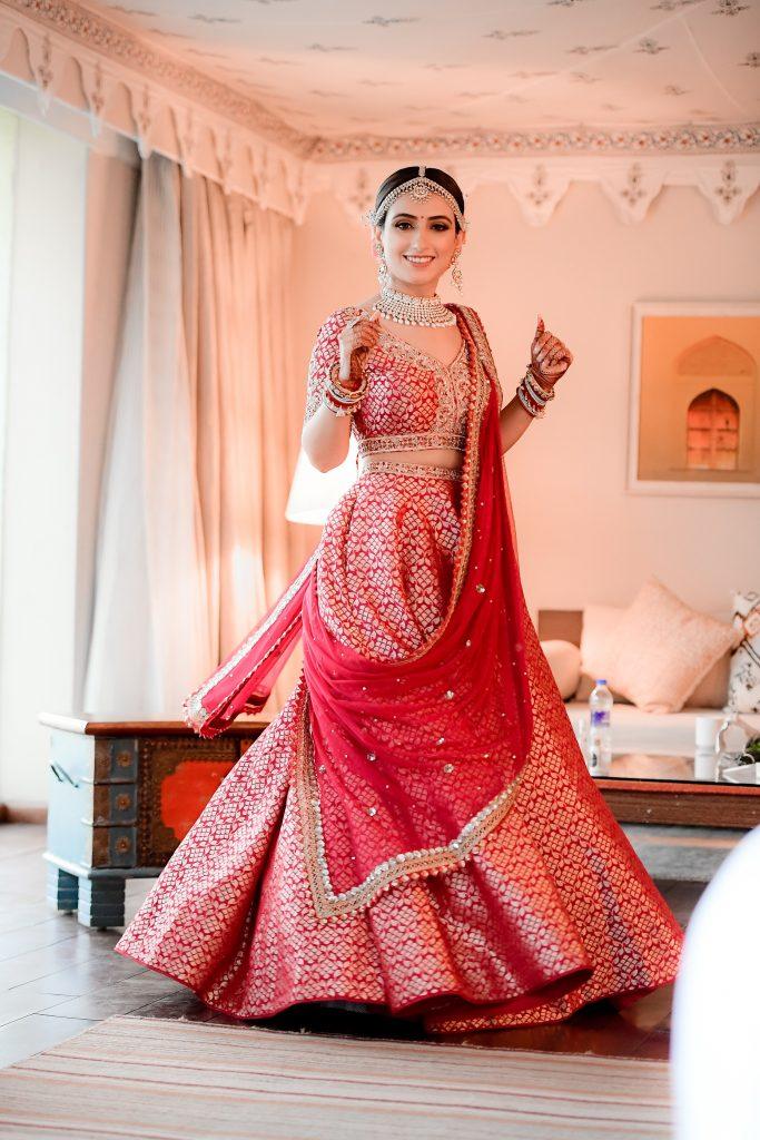 bridal red banarasi lehenga