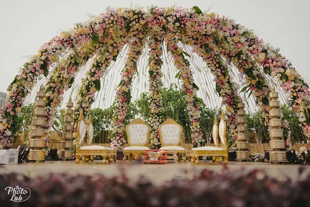 semi-dome floral mandap