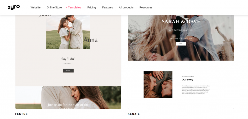 wedding website themes