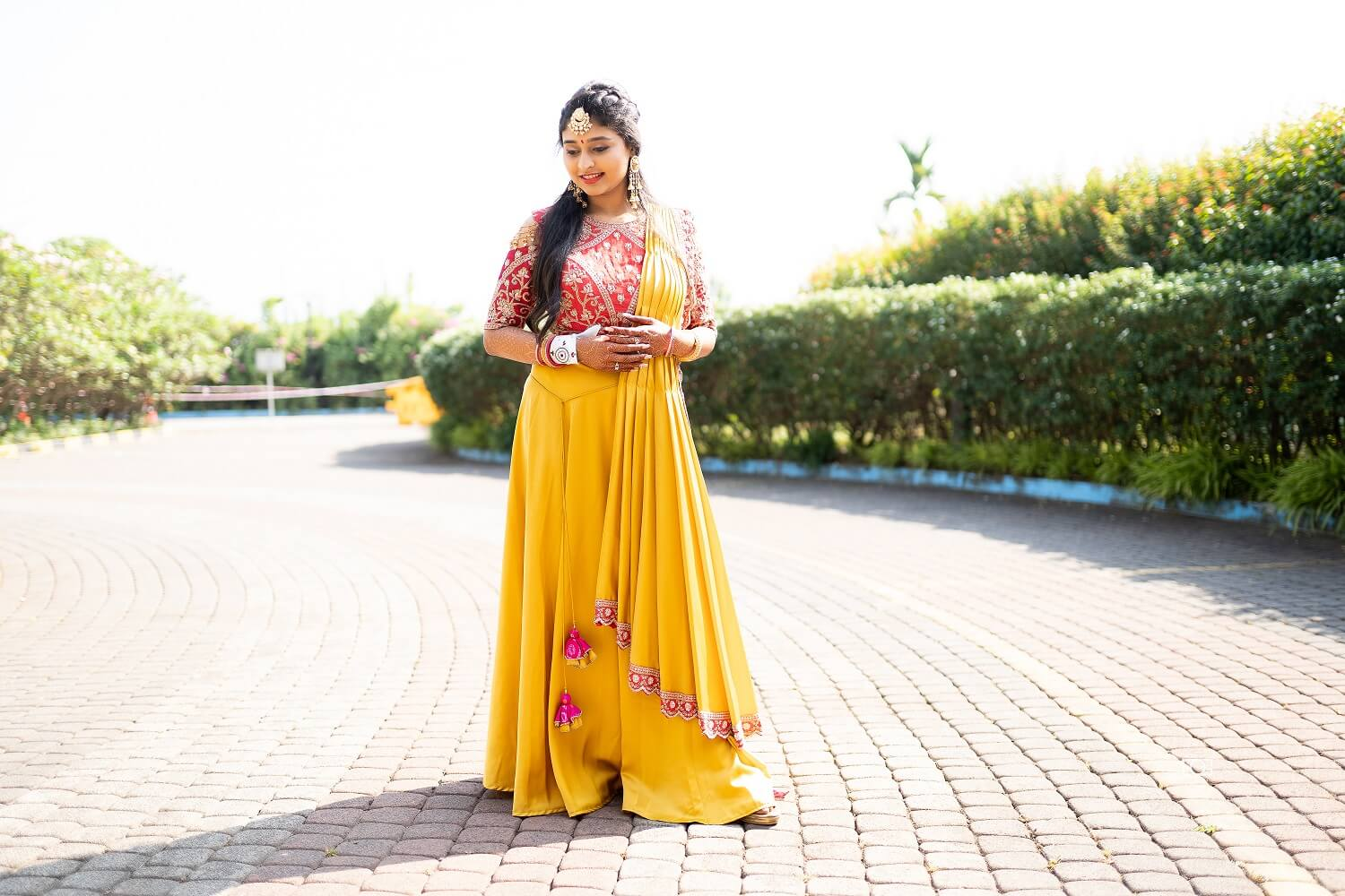 yellow lehenga with bandhani dupatta