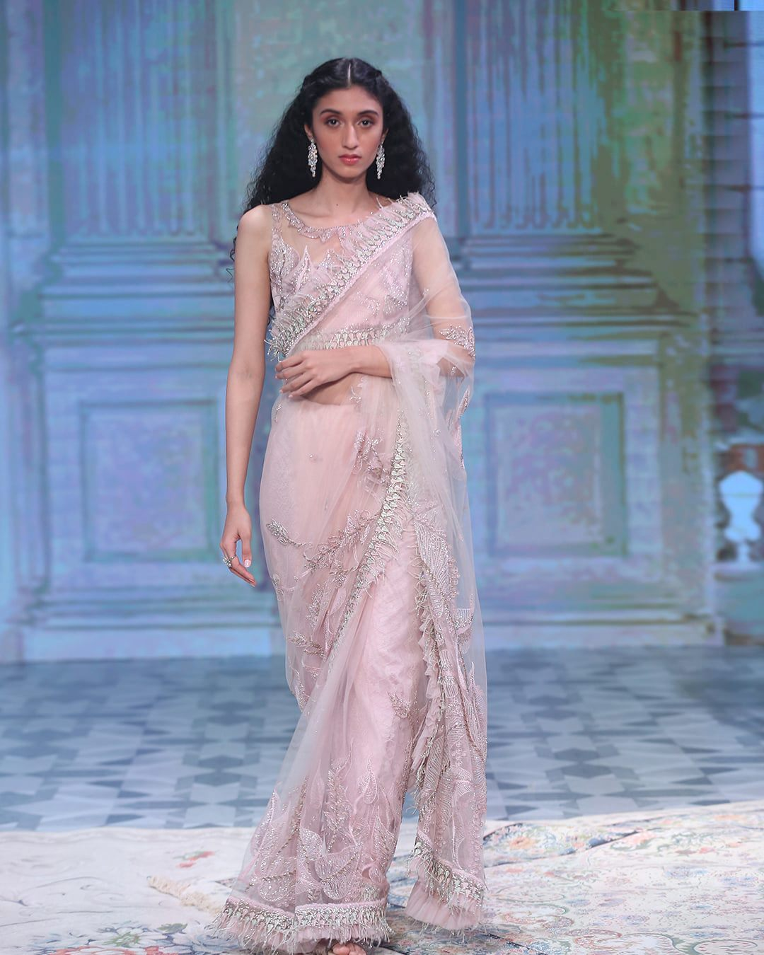 Designer pink bridal saree
