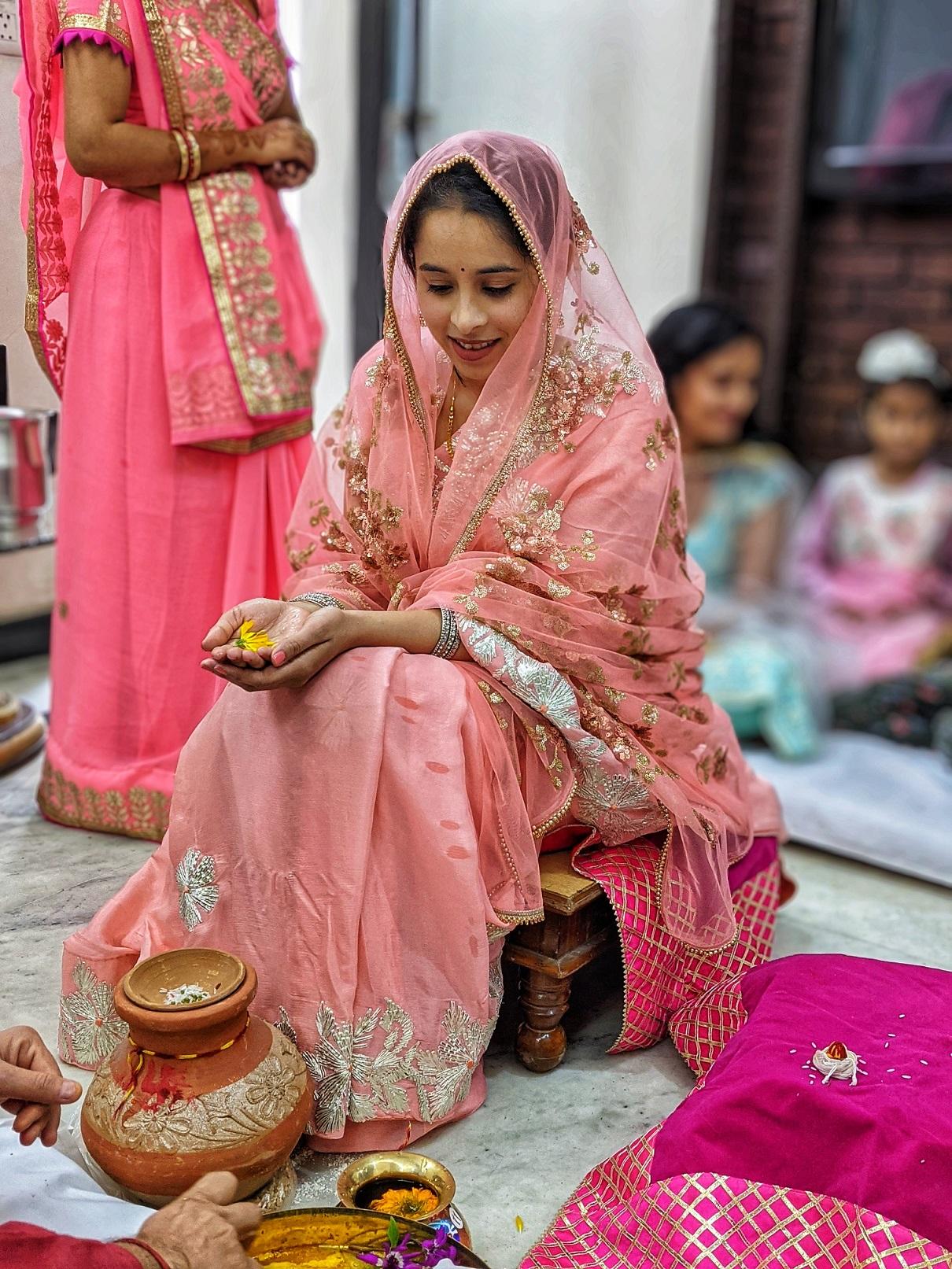 Roka ceremony bridal saree