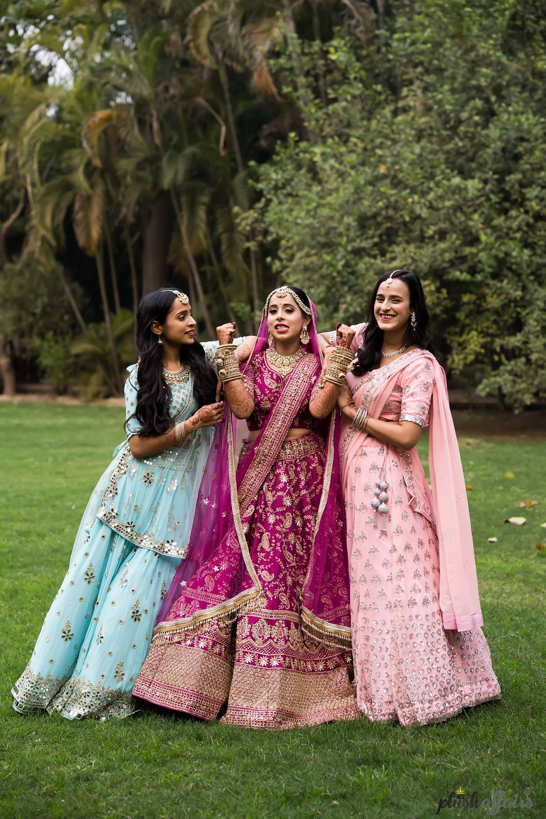 bride and bridesmaid outfits