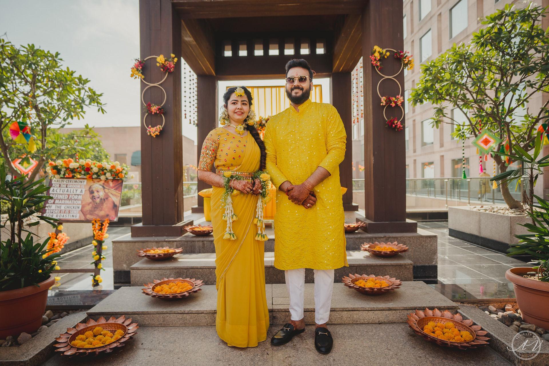 bride and groom haldi outfit