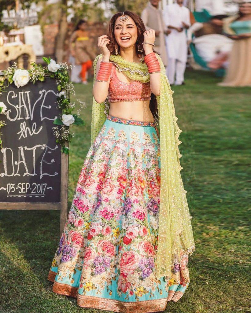 printed floral bridal wear