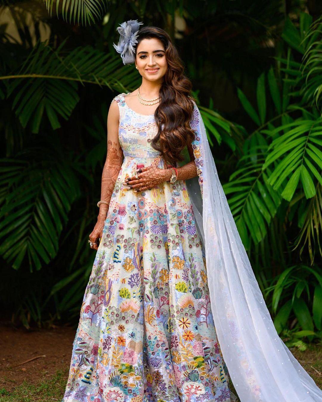 floral printed bridal gown