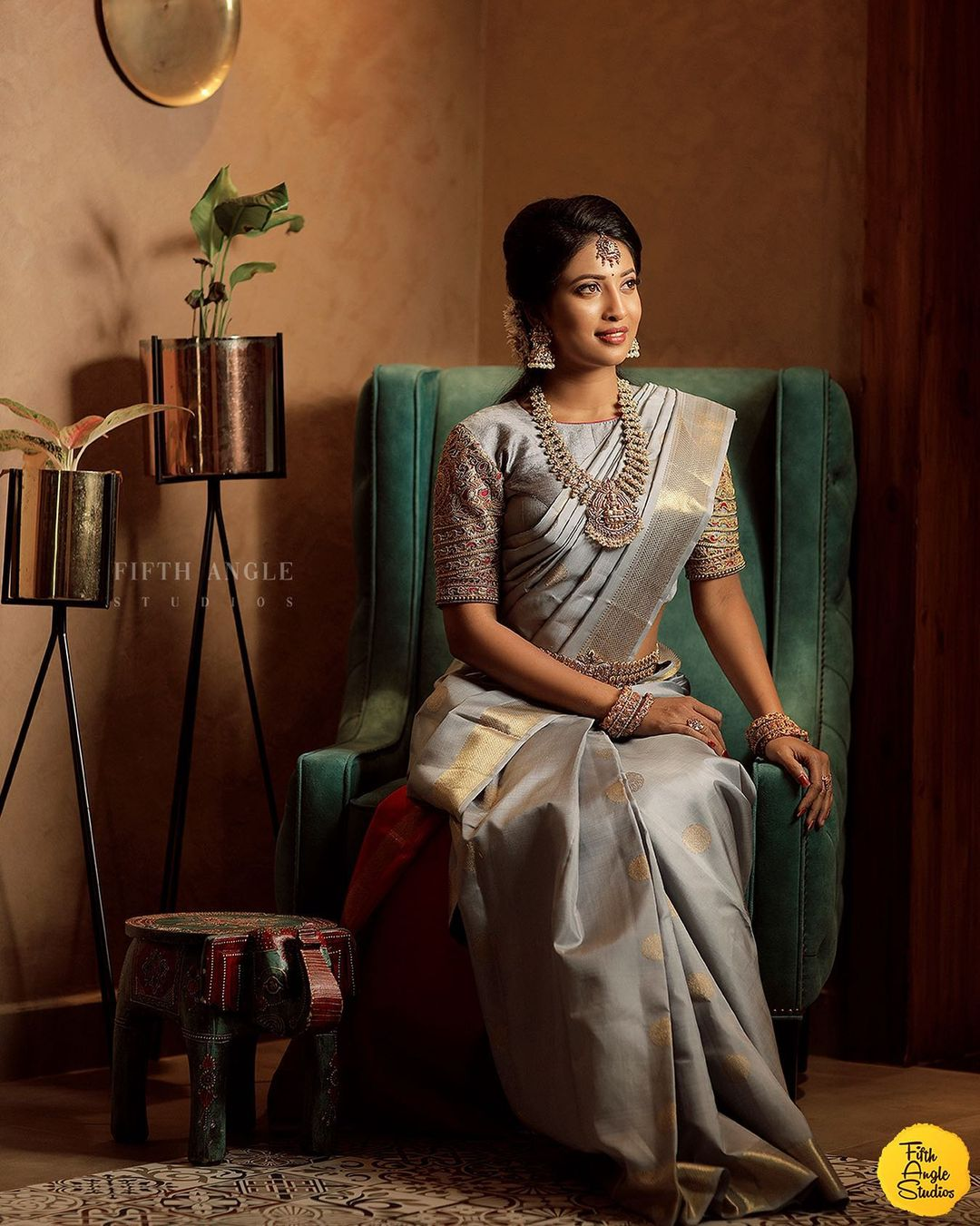grey kanjeevaram saree