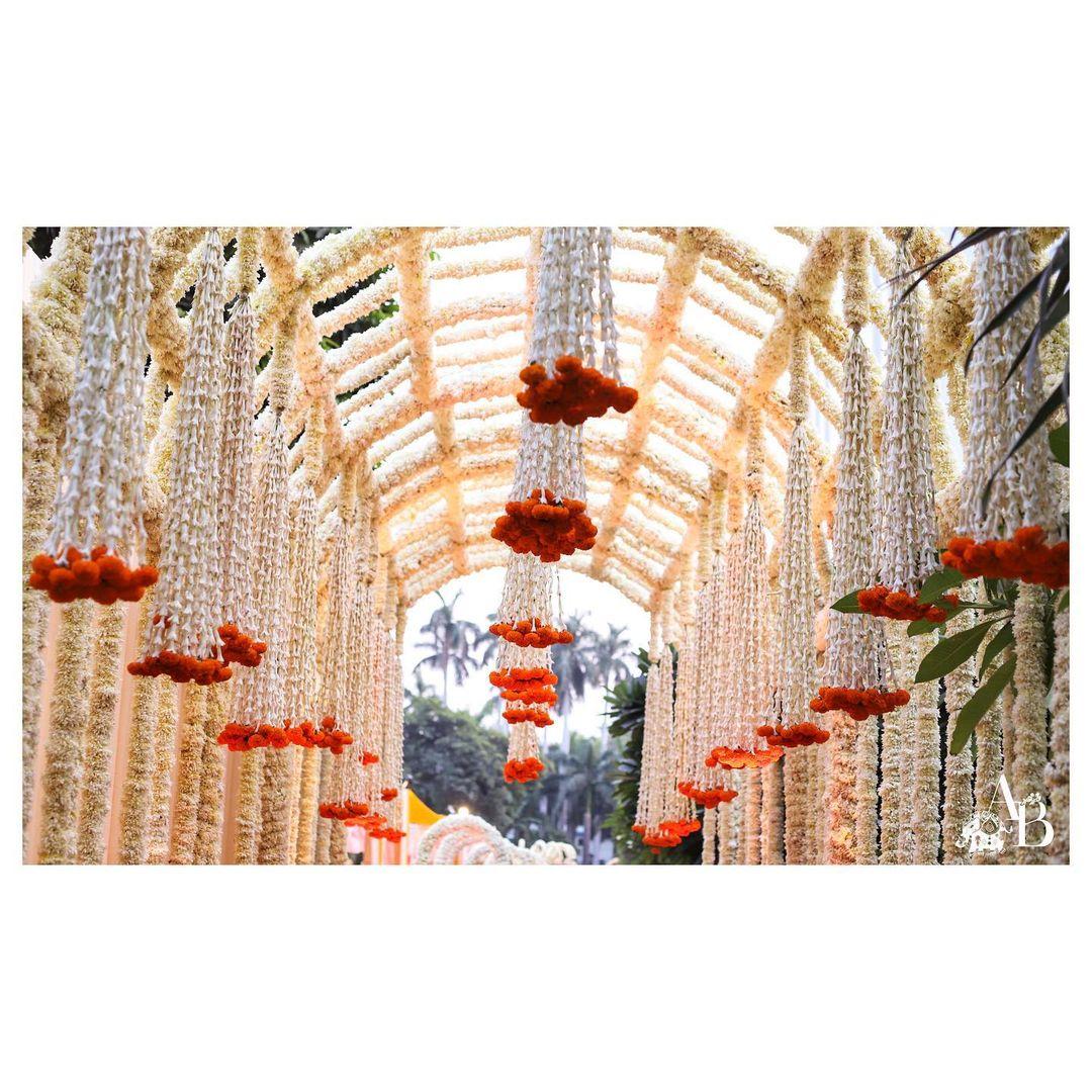 hanging mogra flower decor