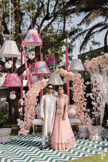 pastel peach wedding decor