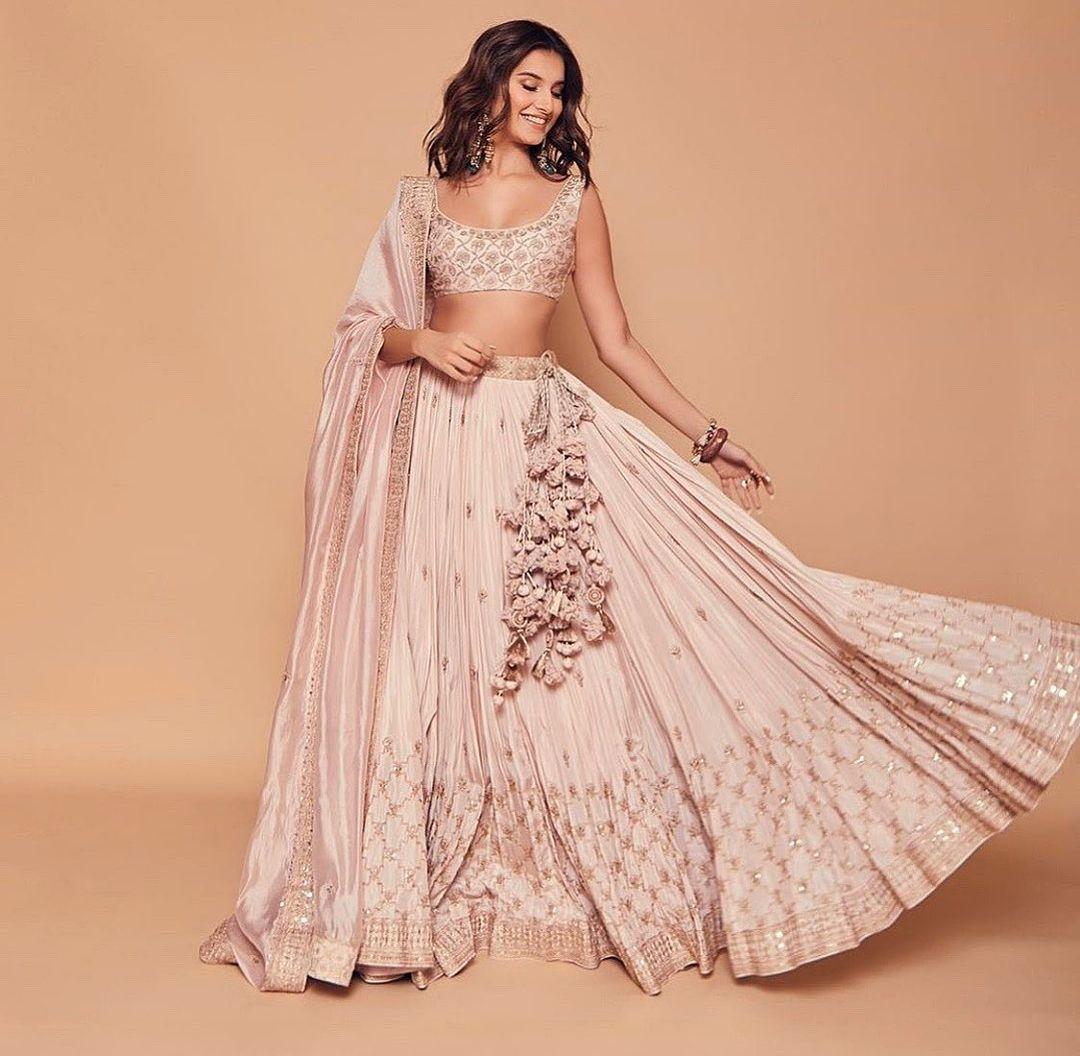 pastel pink bridesmaid lehenga