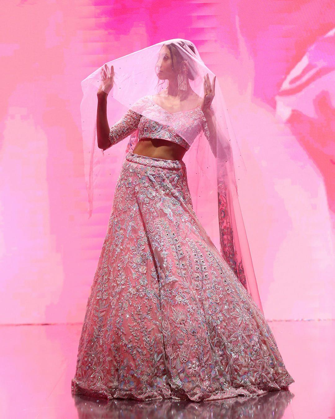 pink embellished lehenga