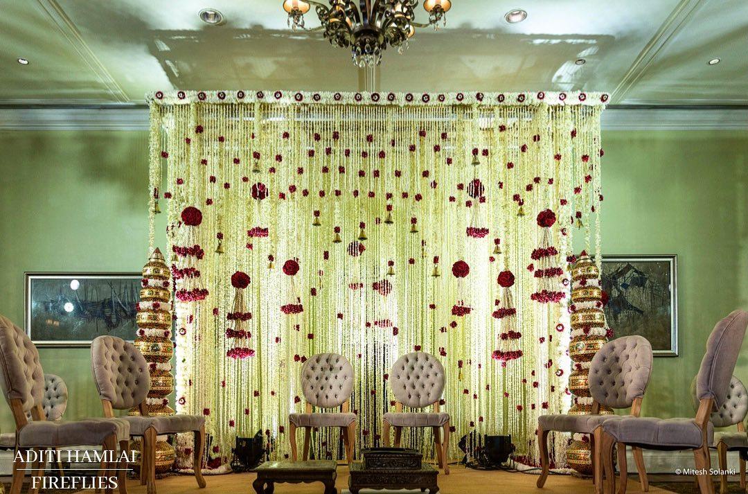white floral mandap decor