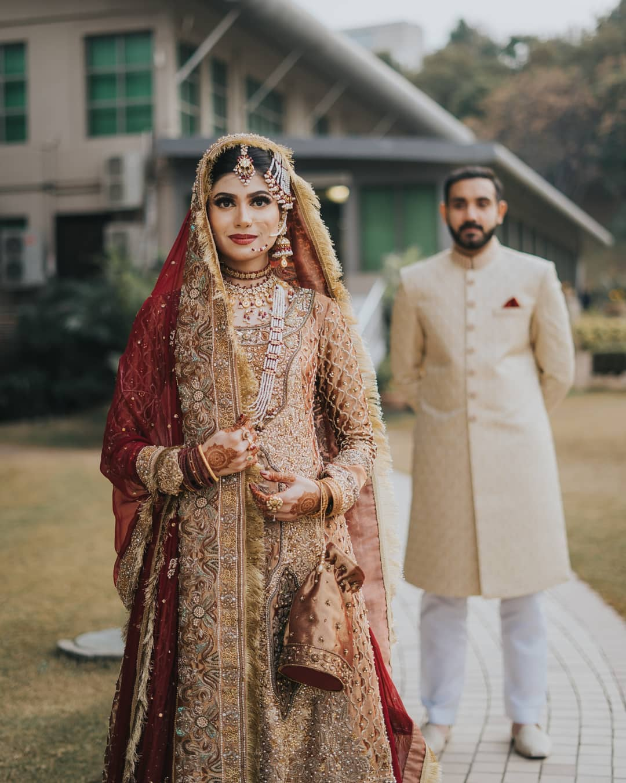 Bridal Anarkali with contrasting dupatta