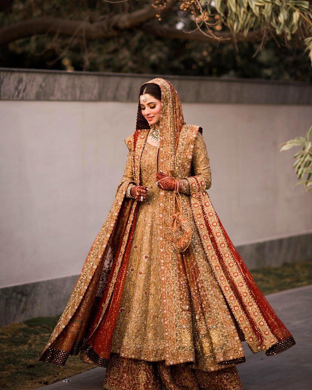 Muslim bride in gold Anarkali