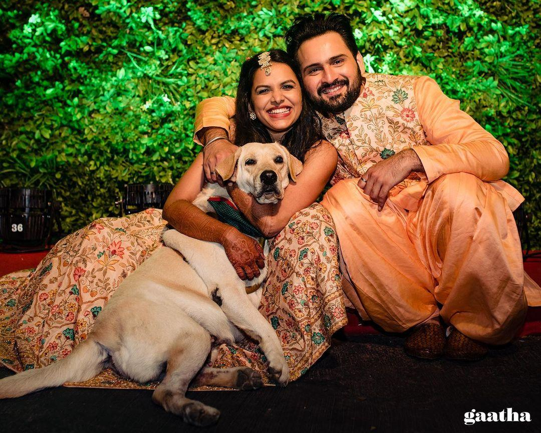 adorable couple portrait with dog