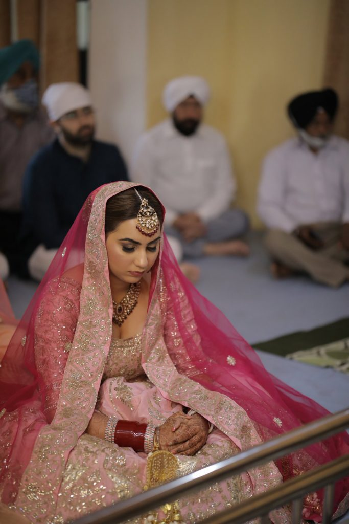 pink anarkali for brides