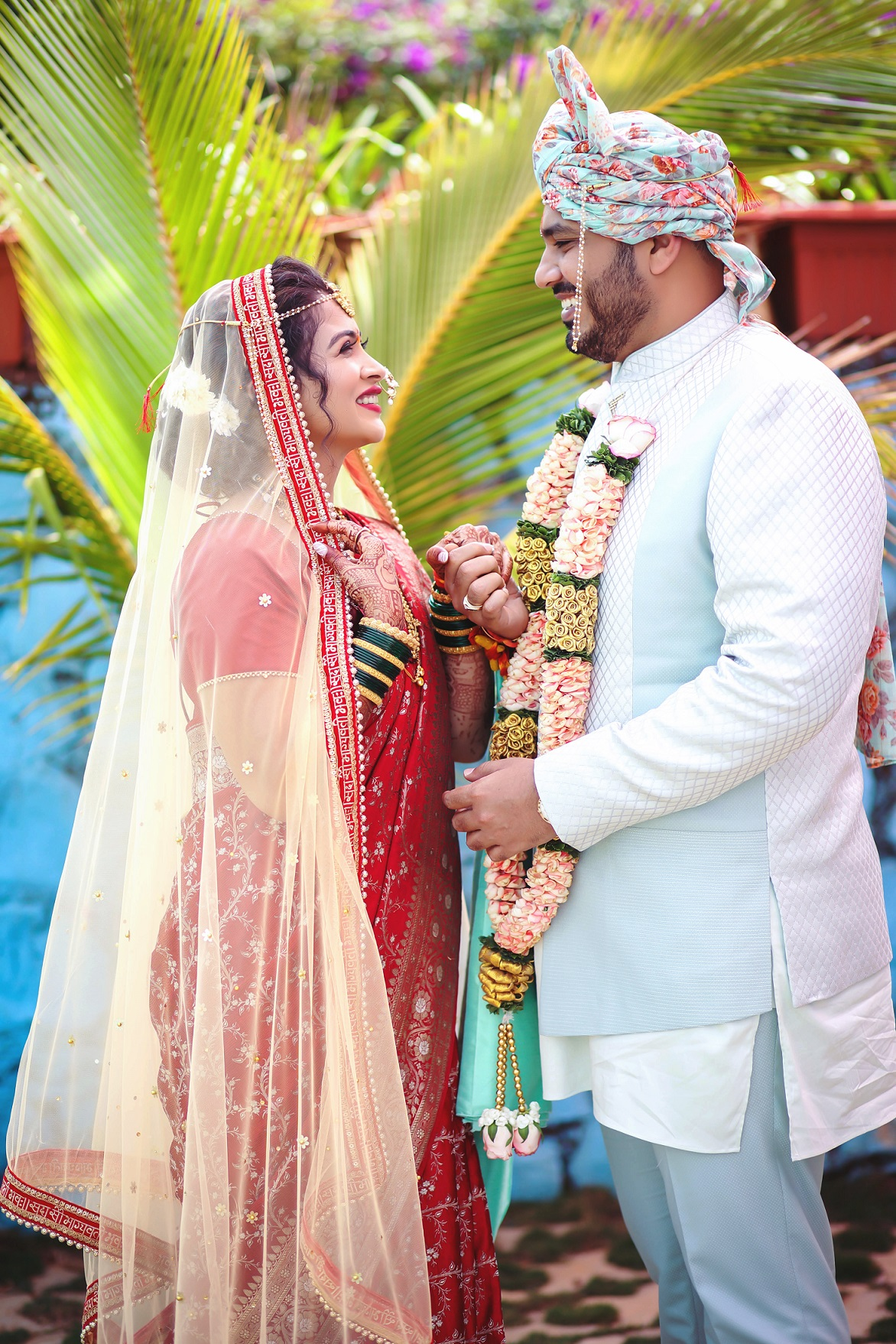 bridal saree with a veil