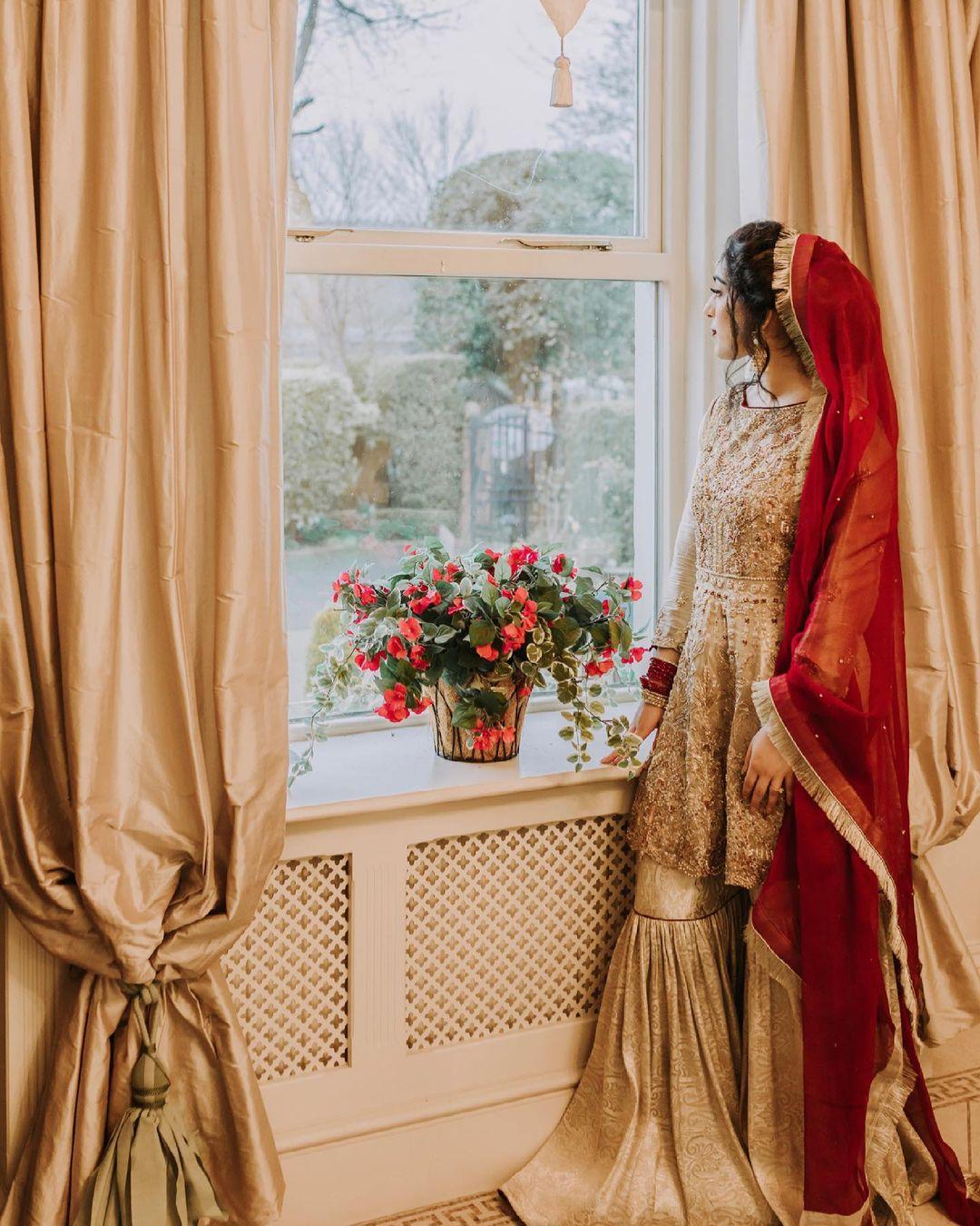 gold bridal sharara