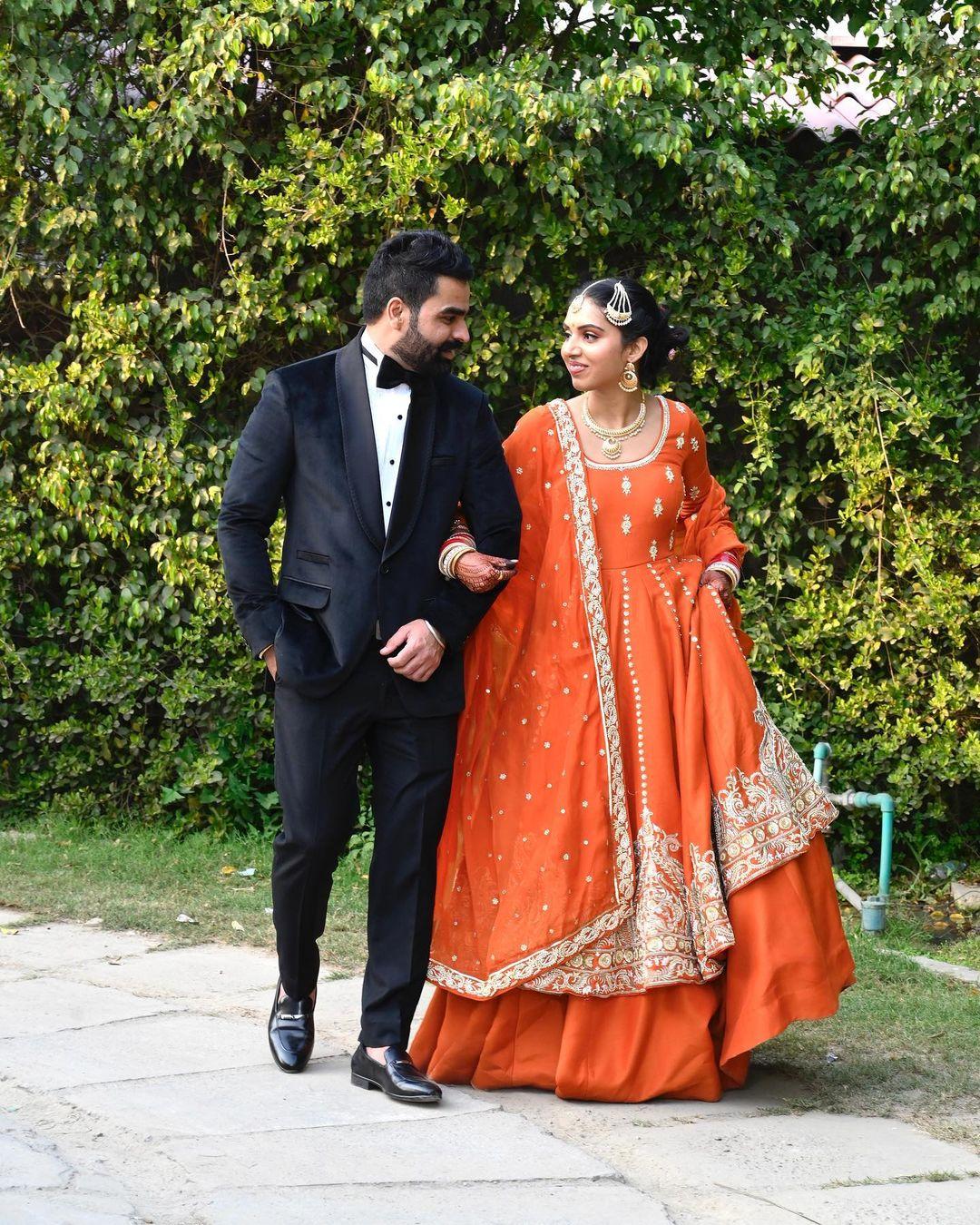 orange bridal Anarkali