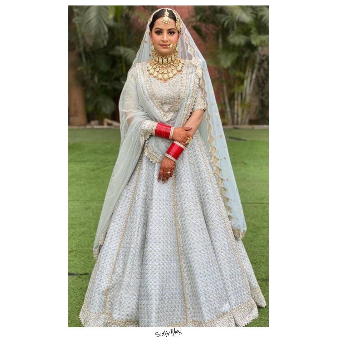 pastel blue Sikh bridal lehenga