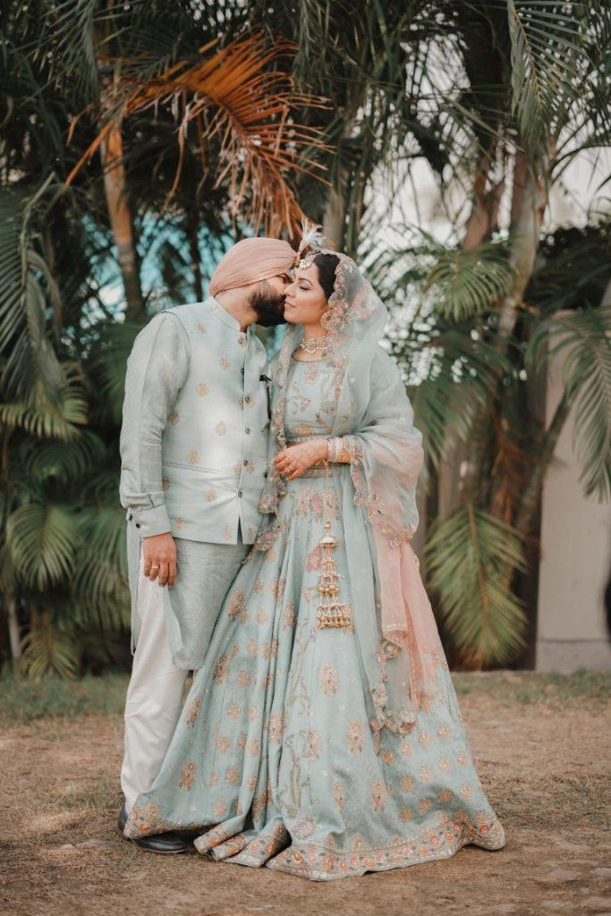 pastel blue bridal lehenga