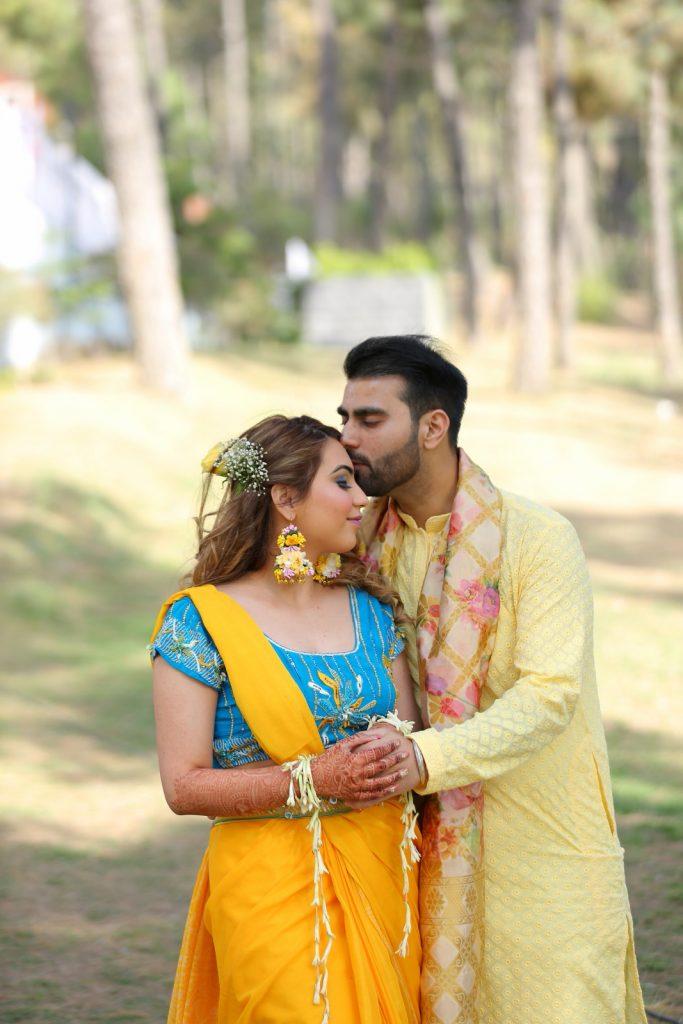color coordinated haldi outfits