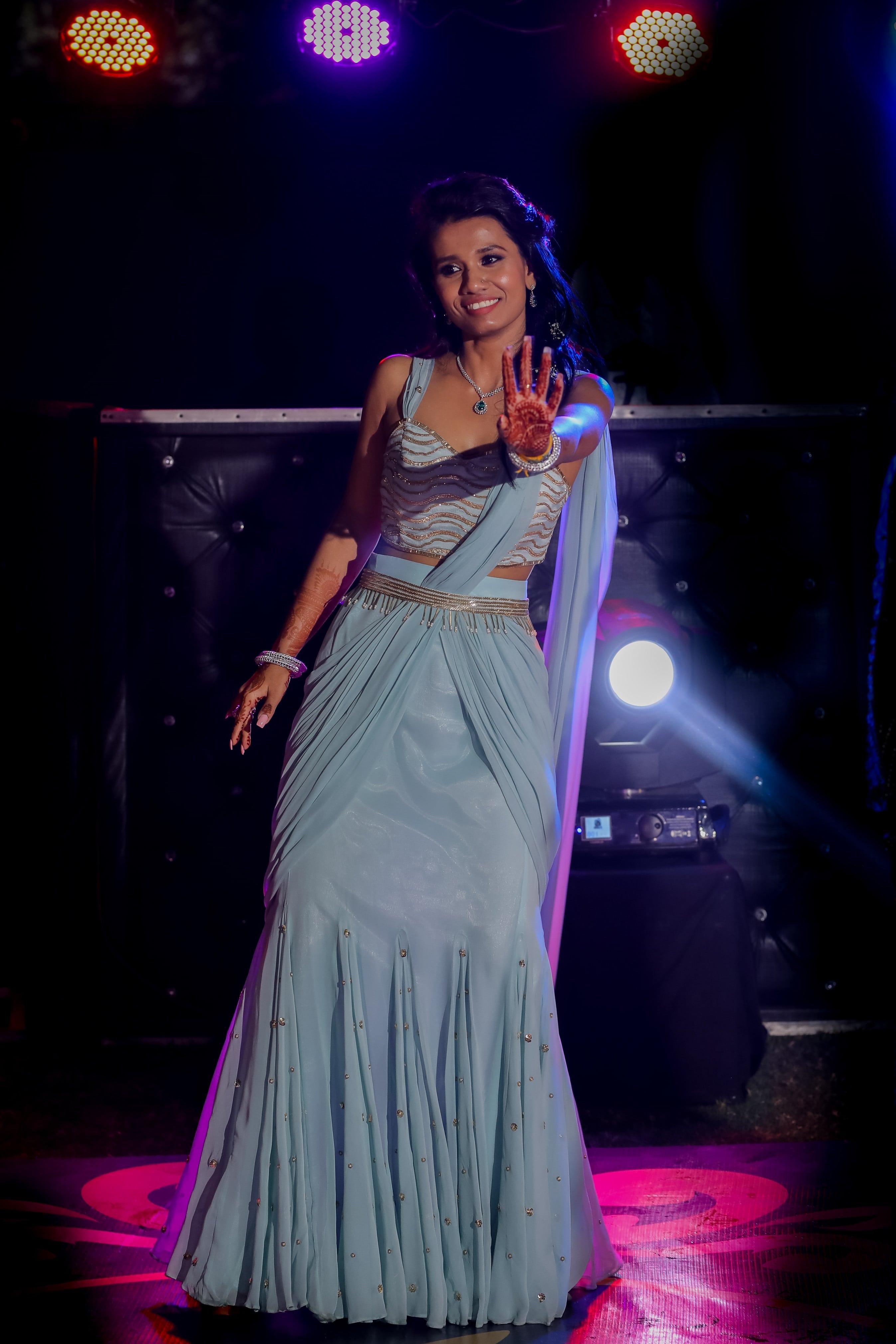 pre-draped sky blue saree