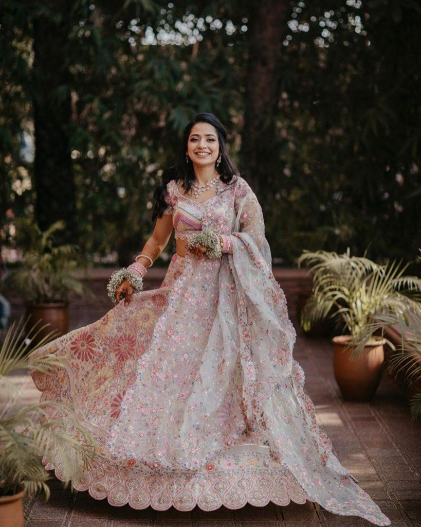 floral bridal lehengas