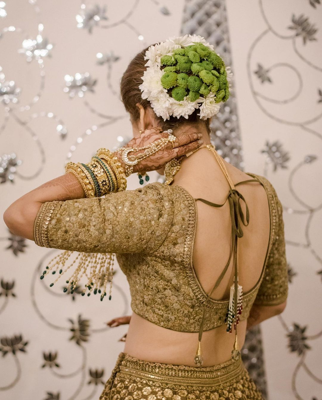 floral bridal bun
