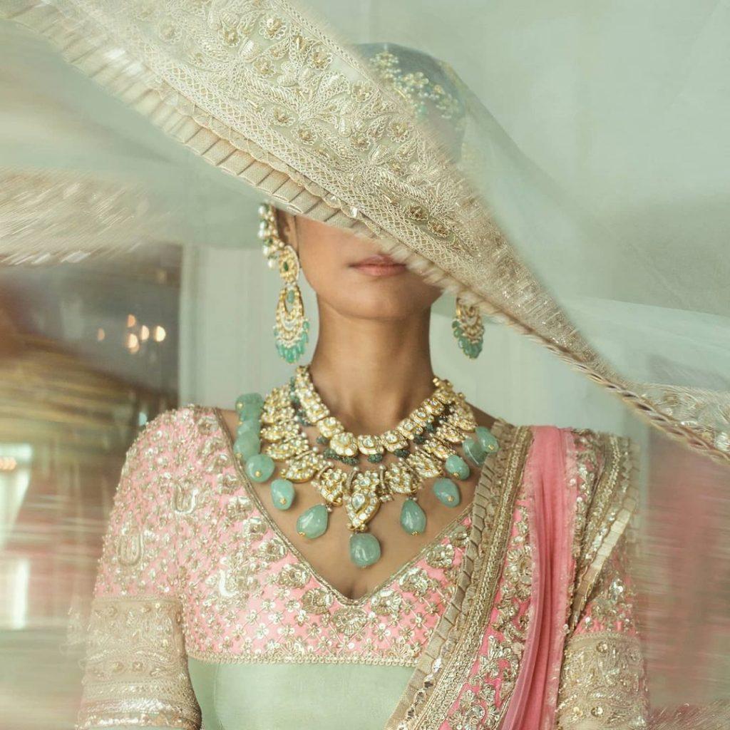 bridal accessory with deep neckline