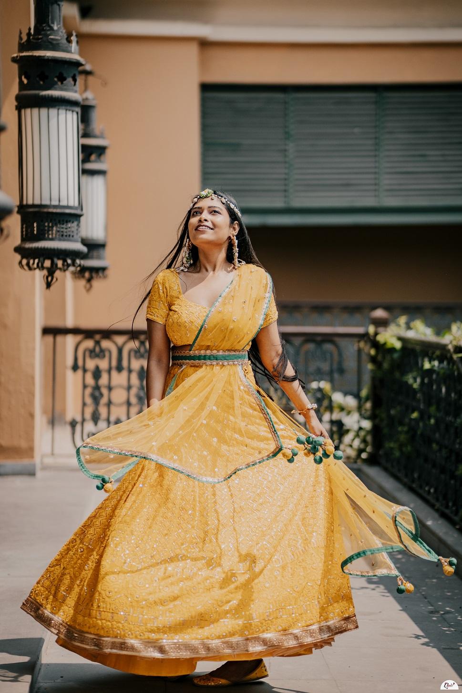 yellow haldi lehenga