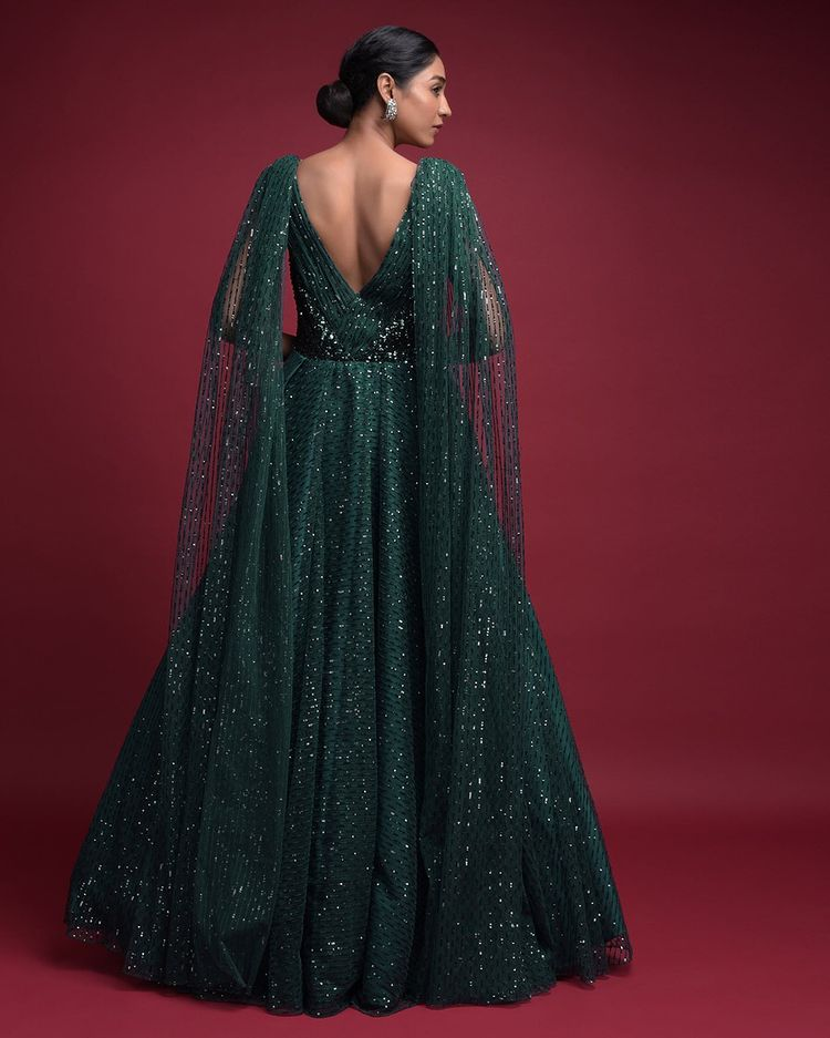 emerald green bridal gown