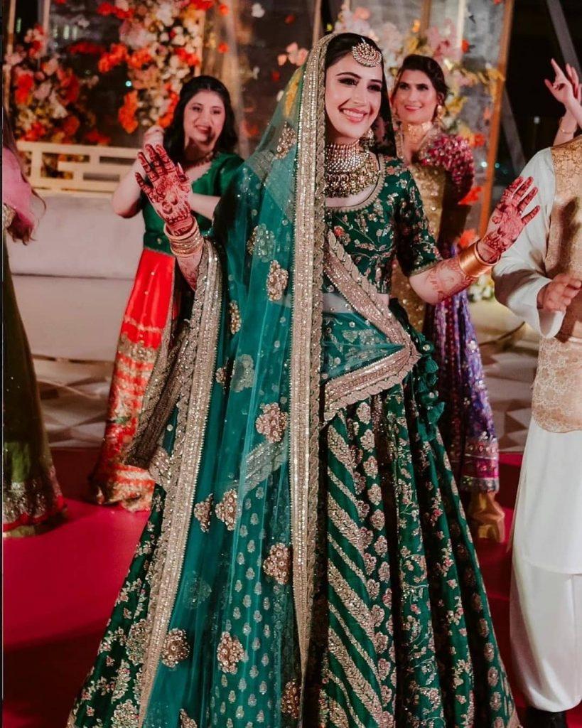 green wedding lehenga