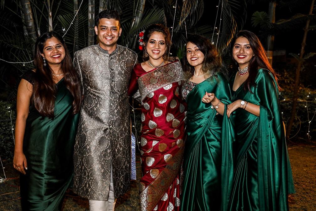 matching bridesmaids saree